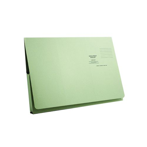Value Full Flap Document Wallet Green 285gsm