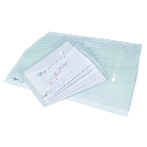 Rapesco Popper Wallet A5 Clear 1500