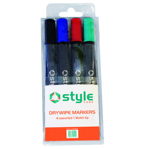 Style CORE Drywipe Bullet Tip Marker Assorted Wallet (4)
