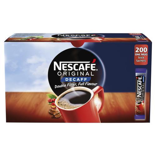 Nescafe Original Instant Coffee Granules Decaffeinated Stick Sachets 12138013 [Pack 200]