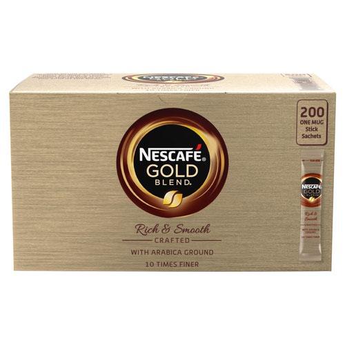 Nescafe Gold Blend Instant Coffee Granules Stick Sachets 12151864 [Pack 200]