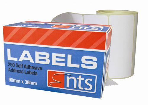 NTS Self Adhesive Address Labels White - 90 x 38mm - Rolls of 250