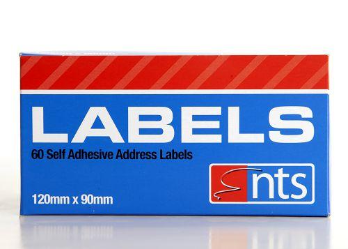 NTS Self Adhesive Address Labels White - 120 x 90mm - Rolls of 60