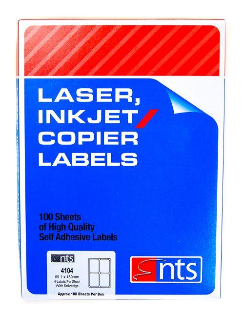 NTS Laser Inkjet & Copier Die Cut Labels -  4 per sheet