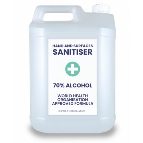 5L Alcohol Based Sanitiser - 70% Alcohol