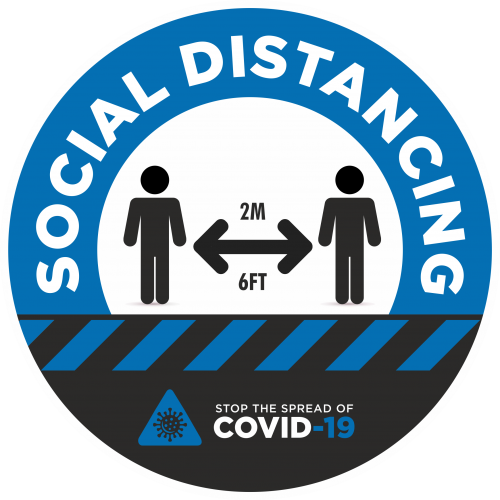 Social Distancing 2m Awareness Sticker - 300mm Dia Blue