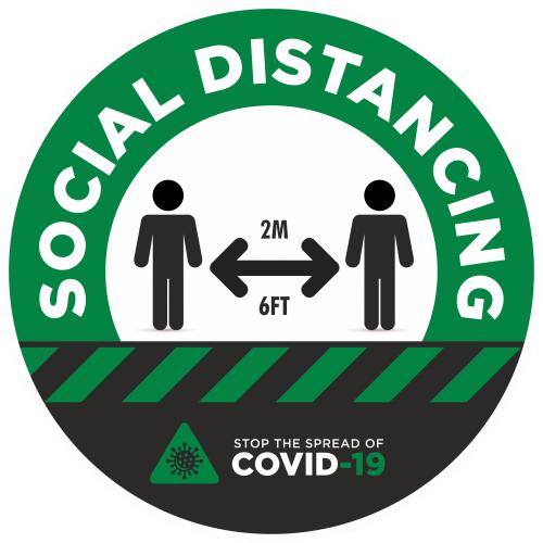 Social Distancing 2m Awareness Sticker - 300mm Dia Green