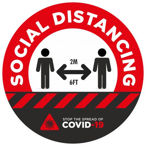 Social Distancing 2m Awareness Sticker - 300mm Dia Red