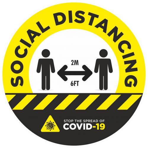 Social Distancing 2m Awareness Sticker - 300mm Dia Yellow