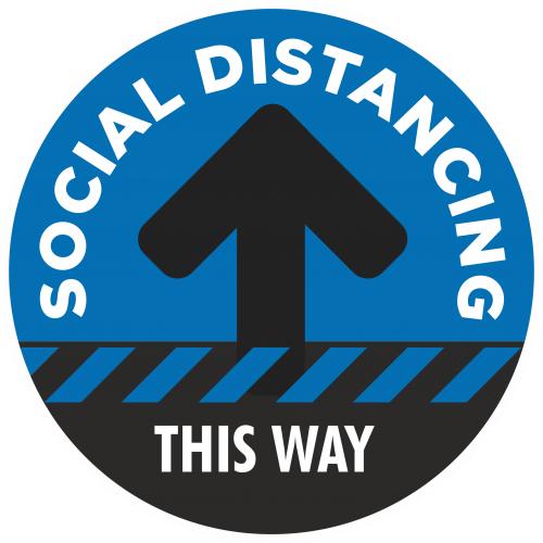 Social Distancing 1 Way Flow Floor Sticker - 300mm Dia Blue