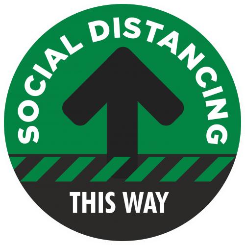 Social Distancing 1 Way Flow Floor Sticker - 300mm Dia Green