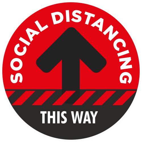 Social Distancing 1 Way Flow Floor Sticker - 300mm Dia Red
