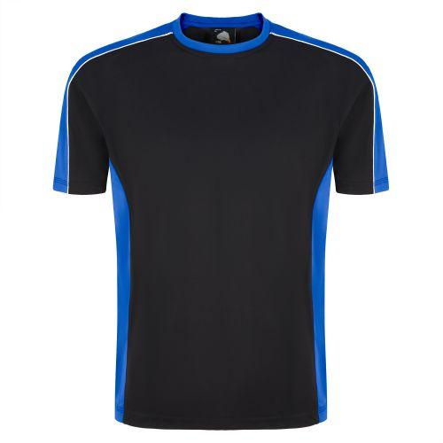 Avocet Wicking T-Shirt - M - Black - Royal Blue