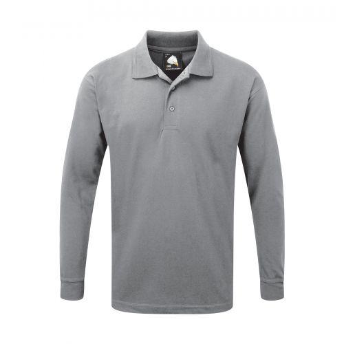 Weaver Premium L/S Poloshirt - M - Ash Polo Shirts and T-Shirts 1170-M-AS