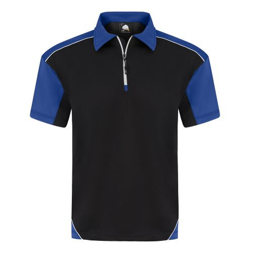 Fireback Wicking Poloshirt - 4XL - Black - Royal Blue