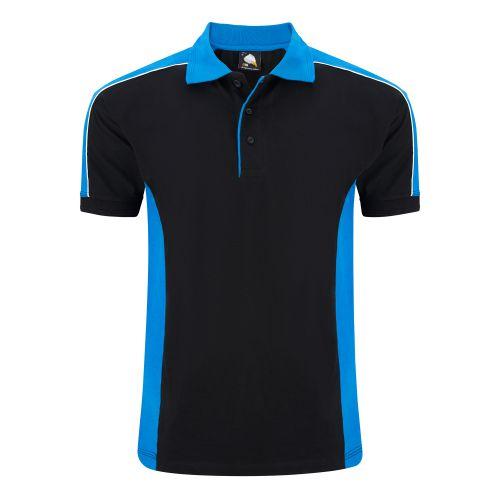 Avocet Poloshirt - 4XL - Black - Reflex Blue