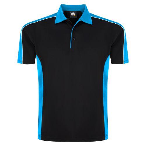 Avocet Wicking Poloshirt - 3XL - Black - Reflex Blue