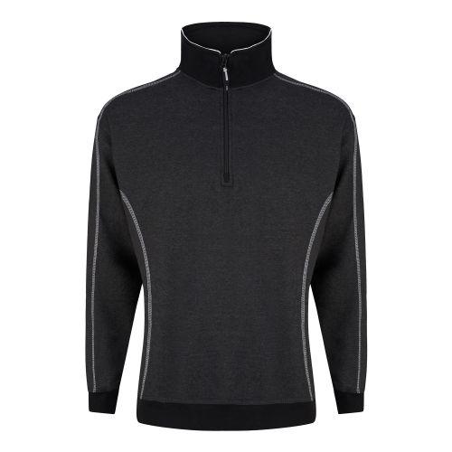 Crane 1/4 Zip Sweatshirt - 5XL - Charcoal Melange - Black