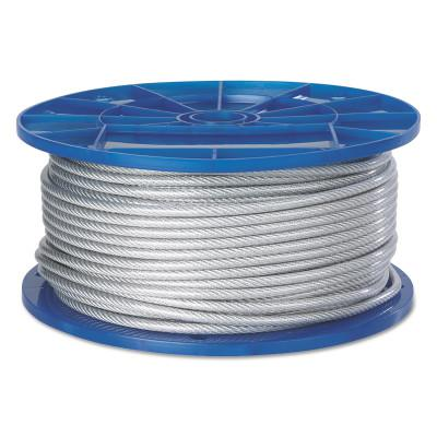 PEERLESS Aircraft Quality Wire Ropes, 7 Strands, 19 Strands/Wire, 1/4 in, 850 lb Load