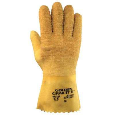 ANSELL Golden Grab-It Gloves, 10, Gray/Yellow, Fully Coated
