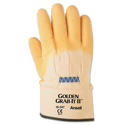 ANSELL Golden Grab-It Gloves, 10, Gray/Yellow, Palm Coated