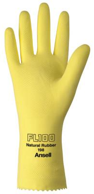 ANSELL Unsupported Latex Gloves, 10, Natural Latex, Flock Lined, Yellow