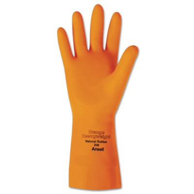 ANSELL Heavyweight Natural Rubber Latex Gloves, Size 10, Citrus Orange