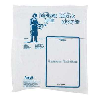 ANSELL Disposable Polyethylene Aprons, 28 in X 55 in, Polyethylene, White