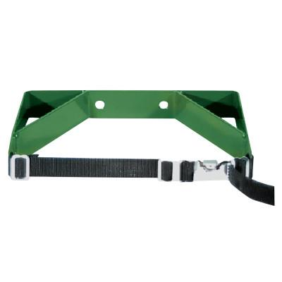 ANTHONY Cylinder Wall Brackets, Single with Strap, Steel, 7 in to 9 1/2 in, Green