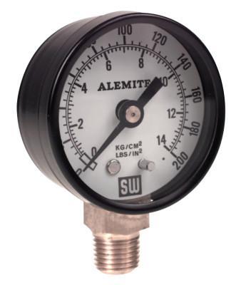 ALEMITE Air Pressure Gauge, 200 psi, 1/4 in NPT(M), Back Mount