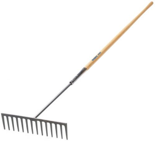 JACKSON PROFESSIONAL TOOL Industrial Rake, 16 1/2 in Forged Steel Blade, 60 in White Ash Handle