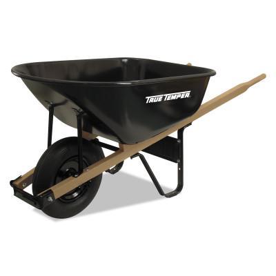 TRUE TEMPER Jackson Steel Medium Duty Wheelbarrows, 6 cu ft, Smooth, Oilube Bearing, Black