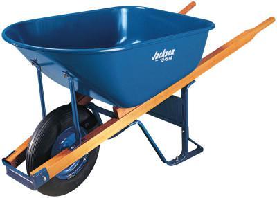 JACKSON PROFESSIONAL TOOL Jackson Steel Contractors Wheelbarrows, 6 cu ft, Flat-Free Smooth, B.B., Blue
