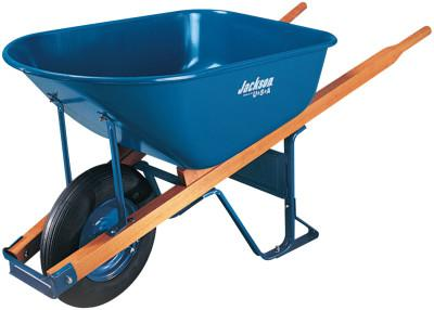 JACKSON PROFESSIONAL TOOL Jackson Steel Contractors Wheelbarrows, 6 cu ft, Pneumatic, Oilube Bearing, Blue