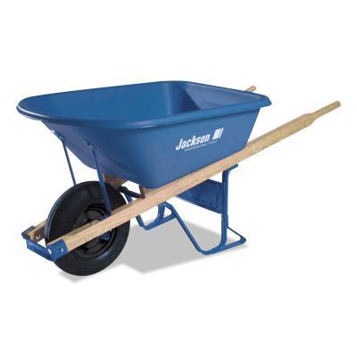 JACKSON PROFESSIONAL TOOL Jackson Poly Contractors Wheelbarrows, 5.75 cu ft, Flat-Free Smooth, B.B., Blue