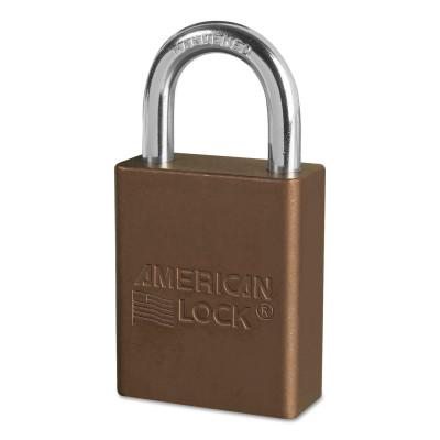 AMERICAN LOCK Solid Aluminum Padlocks, 1/4 in Diam., 1 in L X 3/4 in W, Brown