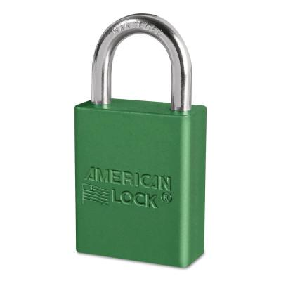 AMERICAN LOCK Solid Aluminum Padlocks, 1/4 in Diam., 1 in L X 3/4 in W, Green