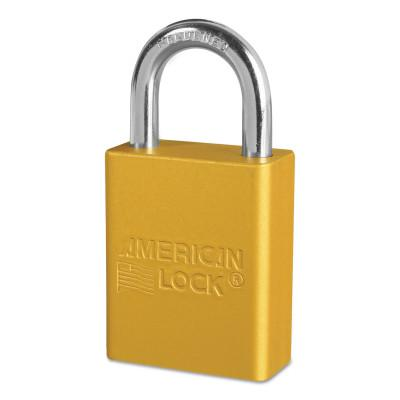 AMERICAN LOCK Solid Aluminum Padlocks, 1/4 in Diam., 1 in L X 3/4 in W, Yellow