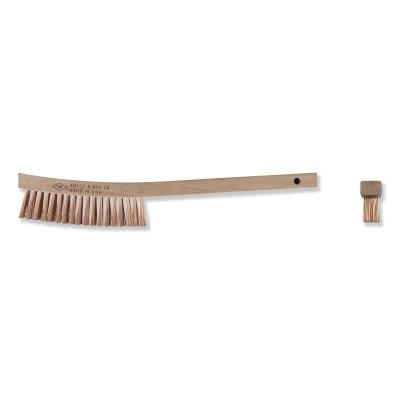 AMPCO SAFETY TOOLS Scratch Brushes, 13 3/4 in, 4 X 19 Rows, Curved Handle