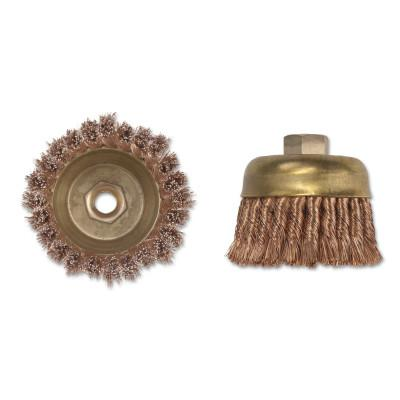 AMPCO SAFETY TOOLS Knot Wire Cup Brush, 3 in Dia., 5/8-11 Arbor, .02 in Wire