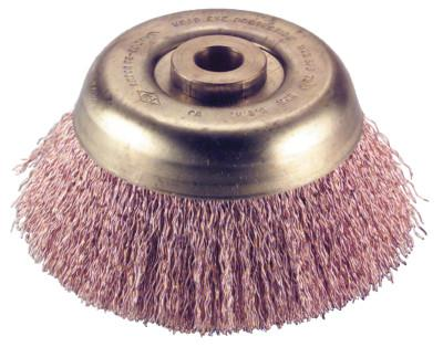 AMPCO SAFETY TOOLS Crimped Wire Cup Brush, 6 in Dia., .02 in Wire