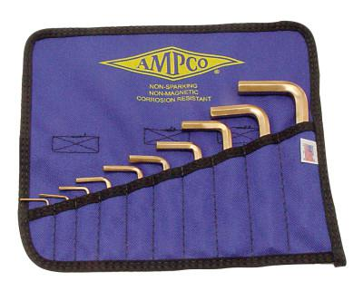 AMPCO SAFETY TOOLS 10 Piece Allen Key Sets, 10 per pouch, Hex Tip, Inch