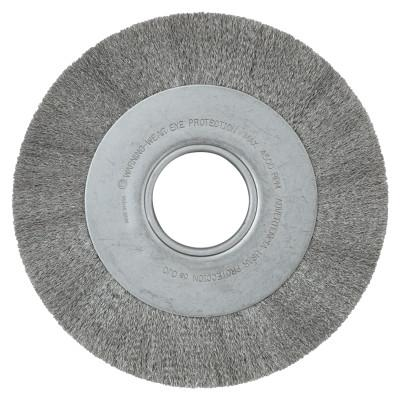 ANDERSON BRUSH Med. Crimped Wire Wheel-DA Series, 8 D x 1 1/8 W, .006 Stainless St., 4,500 rpm