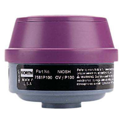 HONEYWELL NORTH Combination Gas and Vapor Cartridges, Organic Vapor, P100, Black, Magenta