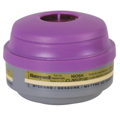 HONEYWELL NORTH Combination Gas and Vapor Cartridges, Mercury Vapor/Chlorine/Particulates, P100
