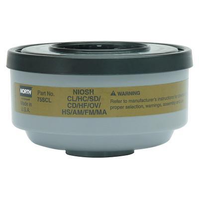 HONEYWELL NORTH Gas and Vapor Cartridge/Filter, Hydrogen Sulfide (Escape)/Ammonia/Chlorine