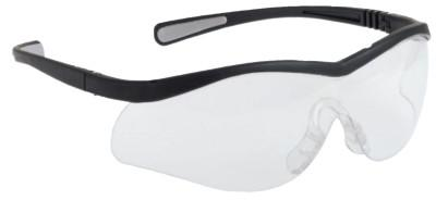 NORTH SAFETY Lightning Safety Glasses, Clear Lens, Anti-Scratch, Anti-Static, Black Frame