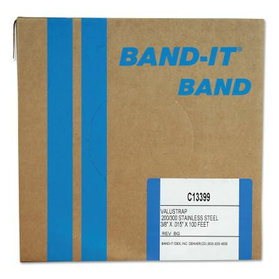 BAND-IT Valustrap Strappings, 3/8 in x 100 ft, 0.015 in Thick, Stainless Steel