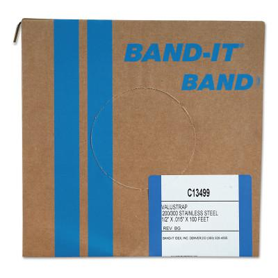 BAND-IT Valustrap Strappings, 1/2 in x 100 ft, 0.015 in Thick, Stainless Steel