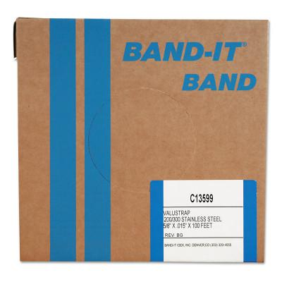 BAND-IT Valustrap Strappings, 5/8 in x 100 ft, 0.015 in Thick, Stainless Steel